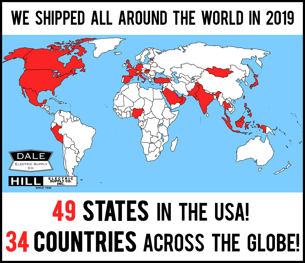 How many countries did we ship to in 2019?